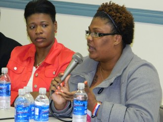 """Nearly 200 people attended """"A Day for Haiti"""" last week at St. Raphael School. The program also featured panelists, above, including Seya Cesar, left, and Dorice Beausejour."""