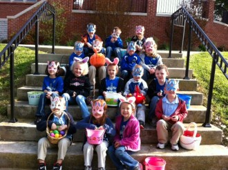 Students in Amanda Carney's preschool class at St. Dominic School in Springfield, Ky., enjoyed an Easter egg hunt before spring break.