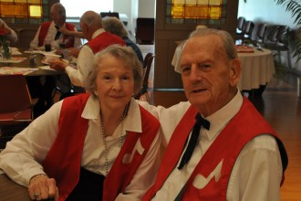 Stuart Fink, shown with his wife of 55 years Estelle, will turn 100 years old on May 27. Fink and his family will attend a Mass in his honor May 27 at St. Louis Bertrand Church, where the couple are members. (Record Photo by Jessica Able)