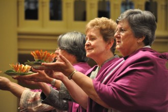 """The new provincial leadership team for the Sisters of Charity of Nazareth Western Province includes, from left, Provincial Adeline Fehribach and vice provincials Antoinette """"Tonya"""" Severin and Rhoda Kay Glunk. (Photo special to The Record)"""