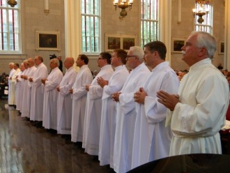 Fifteen men were ordained deacons for the Archdiocese of Louisville on Saturday, Aug. 25, at the Cathedral of the Assumption. (Record Photo by Marnie McAllister)