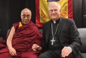 Archbishop Joseph E. Kurtz with His Holiness the Dalai Lama during a brief meeting May 20.