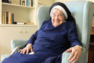 Sister of Mercy Mary Prisca Pfeffer died Aug. 12, 2015. (Record File Photo by Marnie McAllister, 2013)
