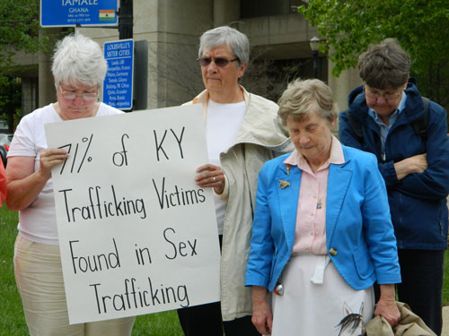 Women religious hosted a prayer service for victims of human trafficking in downtown Louisville  April 29, 2014. (Record File Photo)