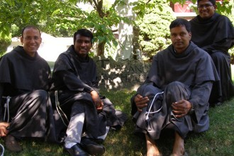 The Conventual Franciscan Friars who have launched a new outreach program to young adults at Bellarmine University and throughout the community are, from left to right, Father John Pozhathuparambil, Father Tony Vattaparambil, Father Sebastian Pendanathu, Provincial of St. Maximilian Kolbe Province in India, and Father Leo Payyappilly. (Record Photo by Glenn Rutherford)
