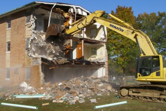 DeSales High School's former monastery was razed Oct. 18. The school has begun a campus-wide renovation and improvement project. (Record Photo by Glenn Rutherford)