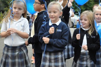 Students at St. Aloysius School in Pewee Valley, Ky., released blue balloons at the school's 'Blue Ribbon' celebration Oct. 15. The school was named a 2014 Blue Ribbon School by the U.S. Department of Education.