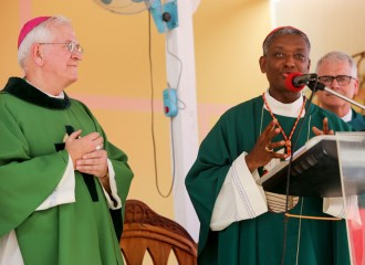 Haitian Cardinal Chibly Langlois, center, celebrated Mass with Archbishop Paul Coakley of Oklahoma City, right, and Archbishop Joseph E. Kurtz, left, at the Sacre-coeur Church on Jan. 14 in Port-au-Prince, Haiti. (Photo Special to The Record Courtesy of Catholic Relief Services)
