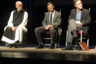 """Trappist Brother Paul Quenon, Dr. Paul Pearson and Morgan Atkinson, left to right, took part in a panel discussion titled """"""""Sacred Journeys: Merton and his Legacy,"""" part of the 20th Festival of Faiths."""