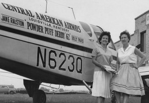 Jane Ralston, right, and her co-pilot Dolly Paris took part in the Powder Puff Derby air race, a coast-to-coast competition for women aviators, in 1962. Photo Special to The Record