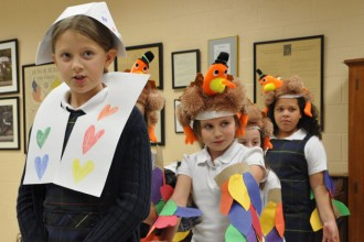 St. Leonard School third-graders performed a reenactment of the first Thanksgiving feast Nov. 20. The third-graders hosted their senior prayer partners for a Thanksgiving celebration. (Record Photos by Jessica Able)