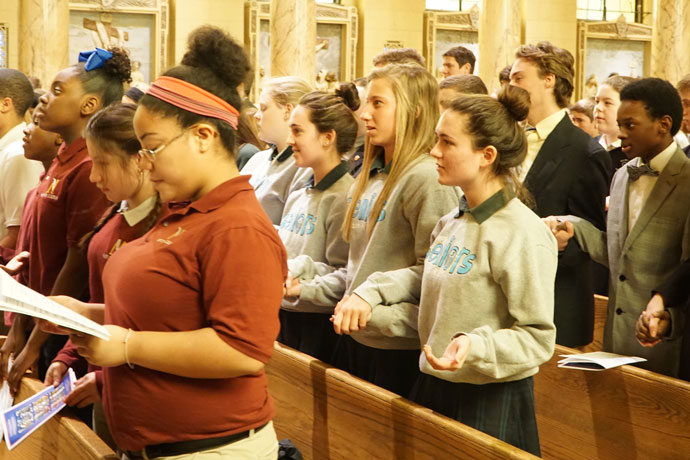 "Students from schools in the Archdiocese of Louisville attended the annual Catholic Schools Week Mass Jan. 26 at St. Agnes Church, 1920 Newburg Road. The theme of the national week of recognition is ""Catholic Schools: Communities of Faith, Knowledge, and Service."" (Record Photos by Jessica Able)"