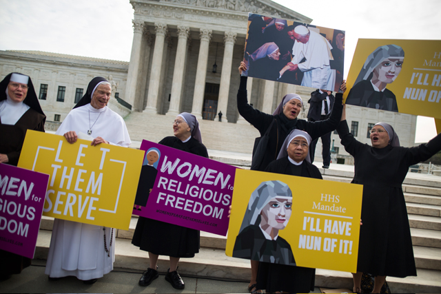 Women religious lobby against the Affordable Care Act's contraceptive mandate March 23 on the steps of the U.S. Supreme Court ahead of oral arguments in Zubik v. Burwell in Washington. (CNS photo/Jim Lo Scalzo, EPA)