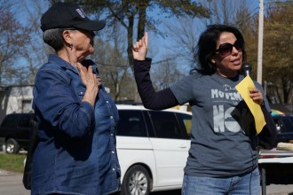 Karina Barillas, right, of La Casita Center, and Yolanda Moore of St. Rita Church, spoke during a gathering to support immigrants in South Louisville on April 3. (Record Photo by Marnie McAllister)