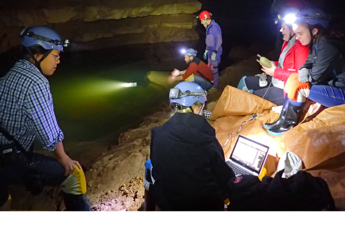 Mercy Academy engineering design students collected data transmitted by submersible remotely operated vehicles (ROVs) inside Mammoth Cave National Park. The students built and programmed the ROVs in class and introduced them into the cave for the first time last fall. (Photo Special to The Record)