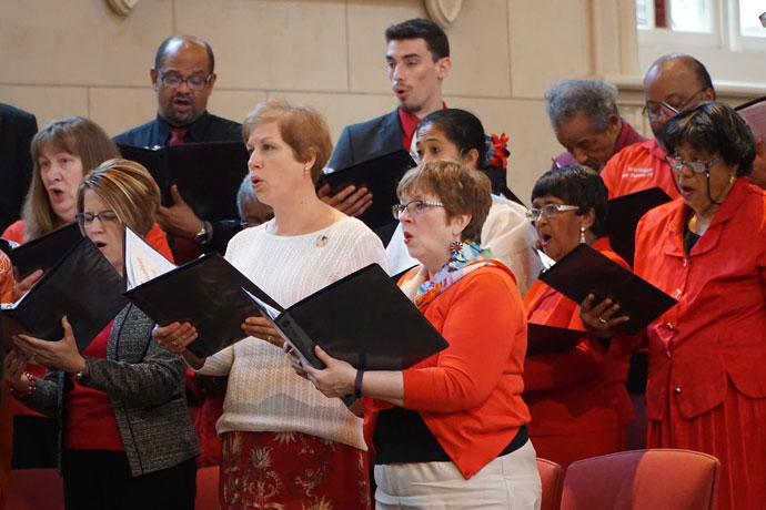 The Archdiocesan Gospel Choir sang during the Pentecost celebration May 15 at the Cathedral of the Assumption, 433 S. 5th St. The event brought together a multicultural group of parishioners from across the Archdiocese of Louisville. (Record Photo by Ruby Thomas)