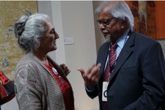 Gulalai Wali-Khan, left, an attendant of the 21st Festival of Faiths, spoke with Arun Gandhi May 18 following a panel discussion at Actors Theatre of Louisville. (Record Photo by Ruby Thomas)