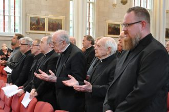 Priests of the Archdiocese of Louisville took part in the annual Presbyteral Jubilee Mass May 16 at the Cathedral of the Assumption. The number of ordinations in recent years has given observers reason to believe there is not a global vocations crisis, but they acknowledge there is still a need for more priests. (Record File Photo by Jessica Able)