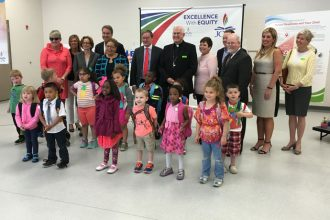 """The Archdiocese of Louisville and Jefferson County Public Schools announced a partnership May 25 to expand """"Ready 4 K"""" summer camps, which focus on ensuring students are ready to begin school"""