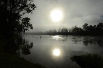 "Early morning sun rises through the fog in 2013 over the swollen Brisbane River in Australia. During the last year, Australian parishes and schools have integrated ""green"" practices into everyday life to reduce energy consumption in response to Pope Francis' environmental encyclical. (CNS photo/Dan Peled, EPA)"