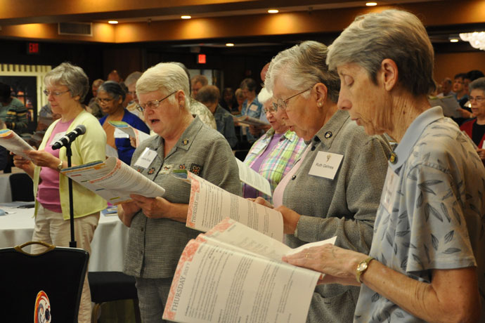 Ursuline Sisters, lay associates and other ministers, above, take part in morning prayer July 8 at the 2016 North American Ursuline Convocation. The tri-annual meeting was held at the Galt House Hotel July 7-10. (Record Photo by Jessica Able)