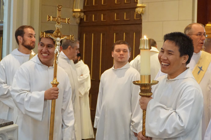 Record File Photo by Marnie McAllister  Seminarians of the Archdiocese of Louisville shared a laugh prior to the ordination of two new priests in May. This year, there are 18 men in formation for the priesthood in the archdiocese. Father Michael Wimsatt, director of the Vocation Office, said they bring joy to their vocation. A full listing of the seminarians and their photos are below.