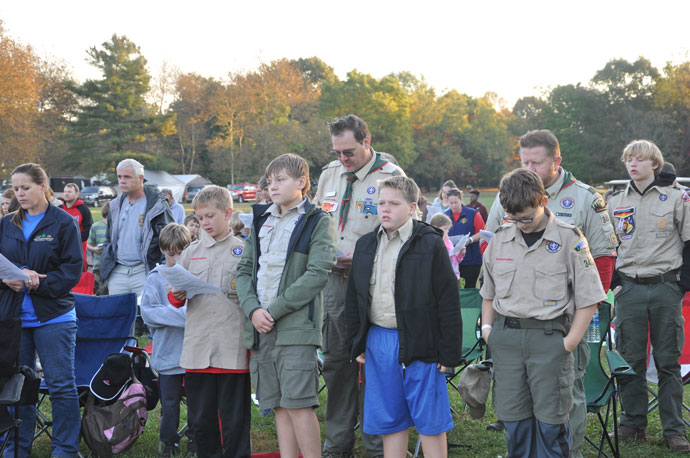 """Scouts participated in an outdoor Mass celebrated by Archbishop Joseph E. Kurtz on Oct. 16 at E.P. """"Tom"""" Sawyer State Park."""