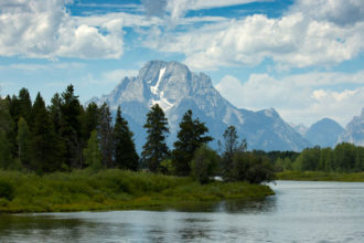 Grand Teton is seen is this view from Oxbow Bend in Grand Teton National Park in Wyoming Aug. 8. (CNS photo/Nancy Wiechec)