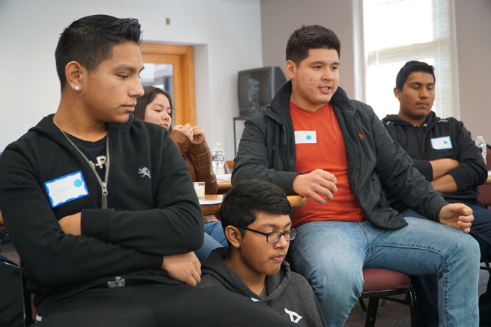 "Middle and high school students were among about 120 teens from 12 parishes who attended the ""Encuentro V Adolescent Retreat"" on March 4 at the Maloney Center, 1200 S. Shelby St. These students took part in a group discussion about times they felt discriminated against. (Record Photo by Ruby Thomas)"