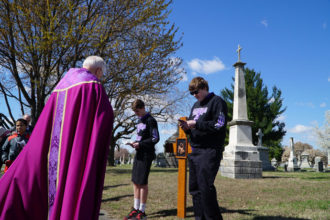 Students from St. Nicholas Academy led the Stations of the Cross at St. Louis Cemetery with Archbishop Joseph E. Kurtz on a March 10. Catholic Cemeteries hosts the Stations of the Cross every Friday during Lent at 1 p.m. (Record Photos by Jessica Able)