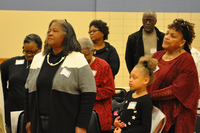 More than a hundred people, including those above, attended the African American Catholic Convocation April 1 at the Flaget Center. Representatives from seven dioceses in Tennessee, Indiana, Kentucky, Ohio and Maryland came together for a day of praise, worship and community. (Record Photo by Jessica Able)