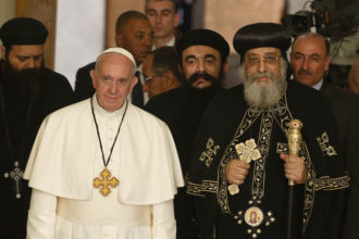 Pope Francis is pictured with Coptic Orthodox Pope Tawadros II in Cairo April 28. The pope was making a two-day visit to Egypt. (CNS photo/Paul Haring)