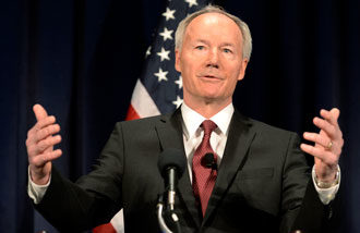 Arkansas Gov. Asa Hutchinson is pictured in a 2013 photo. Arkansas, which has not executed anyone in more than 12 years, plans to execute eight death-row inmates in a period of 10 days this April before one of the state's lethal injection drugs expires. Hutchinson in late February set the four execution dates for the eight men between April 17-27. (CNS photo/Shawn Thew, EPA)