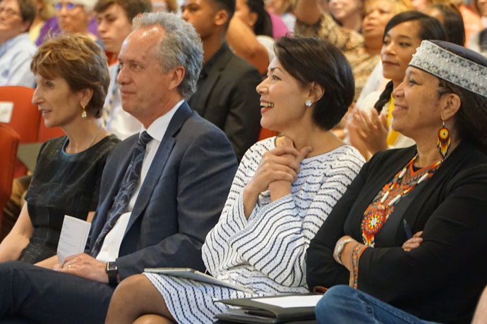 "Alex Gerassimides Fischer, from left, Mayor Greg Fischer, Ann Curry and Attallah Shabazz looked on during a performance at the ""Interfaith Celebration of Music, Song and Soul"" April 19 at the Cathedral of the Assumption. (Record Photo by Ruby Thomas)"