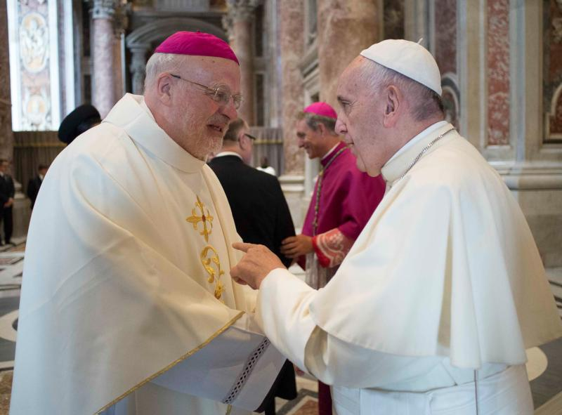 Pope Francis greets Swedish Bishop Anders Arborelius of Stockholm in 2016 at the Vatican. Cardinal-designate Arborelius is one of five new cardinals the pope will create at a June 28 consistory. (CNS photo/L'Osservatore Romano via Reuters)