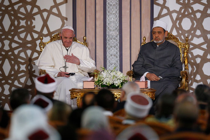 Pope Francis and Sheik Ahmad el-Tayeb, grand imam of al-Azhar University, are seen at a conference on international peace in Cairo April 28. The pope was making a two-day visit to Egypt. (CNS photo/Paul Haring)