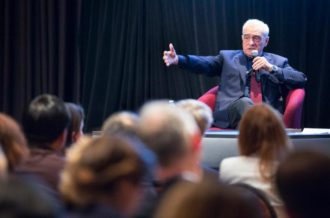 """Film director Martin Scorsese speaks to an audience at the Catholic Media Conference in Quebec City June 21 following a screening of his new movie """"Silence."""" (CNS photo/Chaz Muth)"""