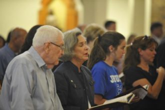 More than 150 people attend a prayer service at St. Catherine of Siena Church in Metairie, La., June 14 for the recovery of House Majority Whip Steve Scalise, R-La., and four others who were shot by a lone gunman while practicing in Alexandria, Va., for a charity baseball event. Scalise, his wife, Jennifer, and their two children are parishioners at the church. (CNS photo/Peter Finney Jr., Clarion Herald)