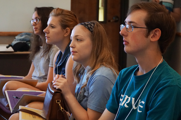 University of Louisville juniors, from left, Mary Jane Shafer, Tori Bunton, Emilie Cornett and Joe Hock, listened to a presentation on forming one's coscience during the Campus Ministry Institute at Bellarmine University June 9. The five-day program drew Catholic students from 16 schools around the United States. (Record Photo by Marnie McAllister)