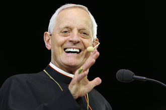 """Washington Cardinal Donald W. Wuerl smiles while speaking during the """"Convocation of Catholic Leaders: The Joy of the Gospel in America"""" July 2 in Orlando, Fla. Leaders from dioceses and various Catholic organizations are gathering for the July 1-4 convocation. (CNS photo/Bob Roller)"""