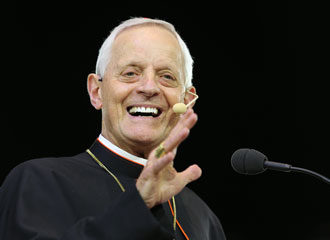 "Washington Cardinal Donald W. Wuerl smiles while speaking during the ""Convocation of Catholic Leaders: The Joy of the Gospel in America"" July 2 in Orlando, Fla. Leaders from dioceses and various Catholic organizations are gathering for the July 1-4 convocation. (CNS photo/Bob Roller)"