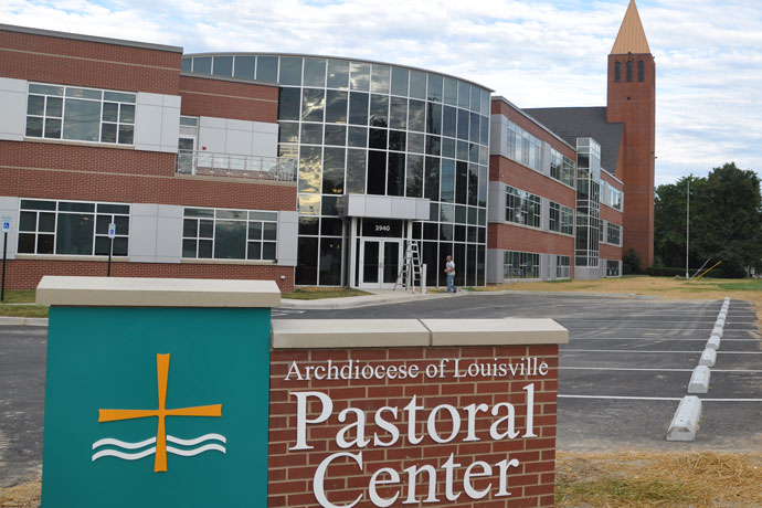 The Archdiocese of Louisville Pastoral Center, 3940 Poplar Level Road, will be blessed by Archbishop Joseph E.Kurtz and opened to the public on Oct. 28. The event will begin at 1:30 p.m. in Holy Family Church, which is located on the same campus, with remarks by the archbishop and special guests. Guests will process from the church to the new center for the blessing and prayer. The open house will follow from 2 p.m. to 4 p.m. (Record Photo by Jessica Able)