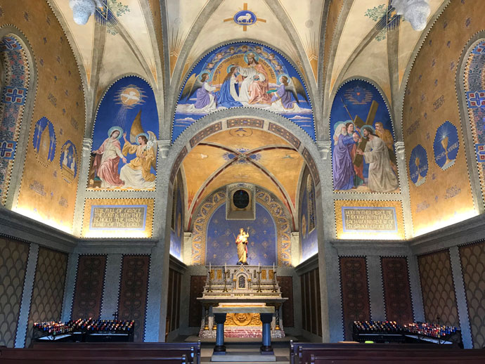 The interior of Monte Cassino Shrine in St. Meinrad, Ind., is seen Oct. 1 after two years of restoration efforts. The shrine, named after the famous Italian monastery founded by St. Benedict, has a history nearly as long as the nearby Benedictine-run St. Meinrad Archabbey, dating back to 1870. (CNS photo by Katie Rutter)