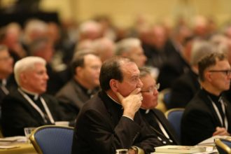 Archbishop Dennis M. Schnurr of Cincinnati, center, listens to a speaker Nov. 14 during the annual fall general assembly of the U.S. Conference of Catholic Bishops in Baltimore. (CNS photo/Bob Roller)