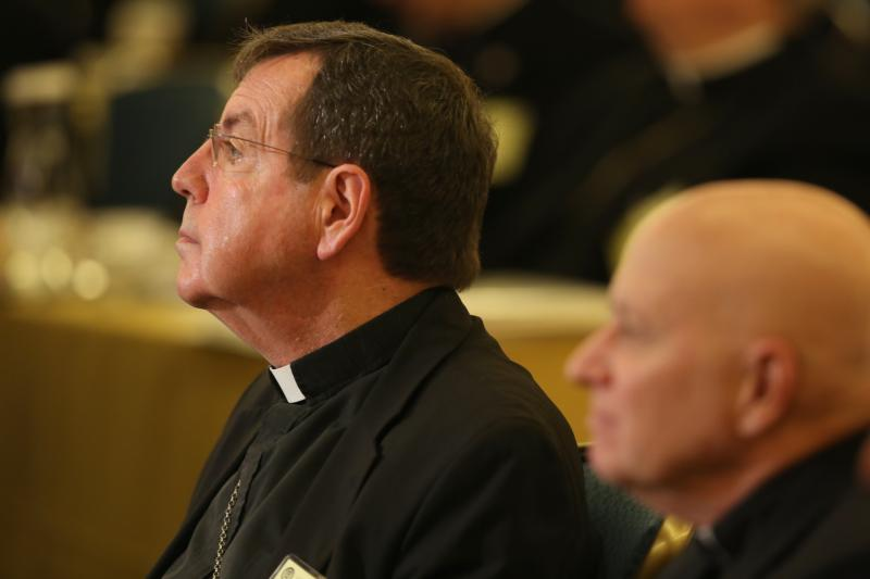 Detroit Archbishop Allen H. Vigneron listens to a speaker Nov. 14 during the fall general assembly of the U.S. Conference of Catholic Bishops in Baltimore. (CNS photo/Bob Roller)