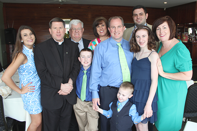Bishop-elect J. Mark Spalding, second from left, is pictured at Easter in 2016 with his family, from left, niece Olivia Goatley, father Lawrence Spalding, nephew Colton Spalding, sister Sandra Goatley, brother Brad Spalding, nephew Brady Spalding, nephew Hunter Goatley, niece Carly Spalding and sister-in-law Macy Spalding. (Photo Special to The Record)