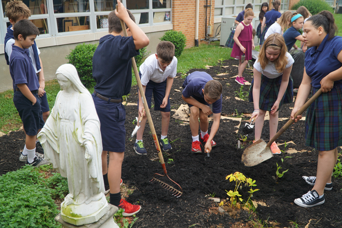 Ascension School students create butterfly garden